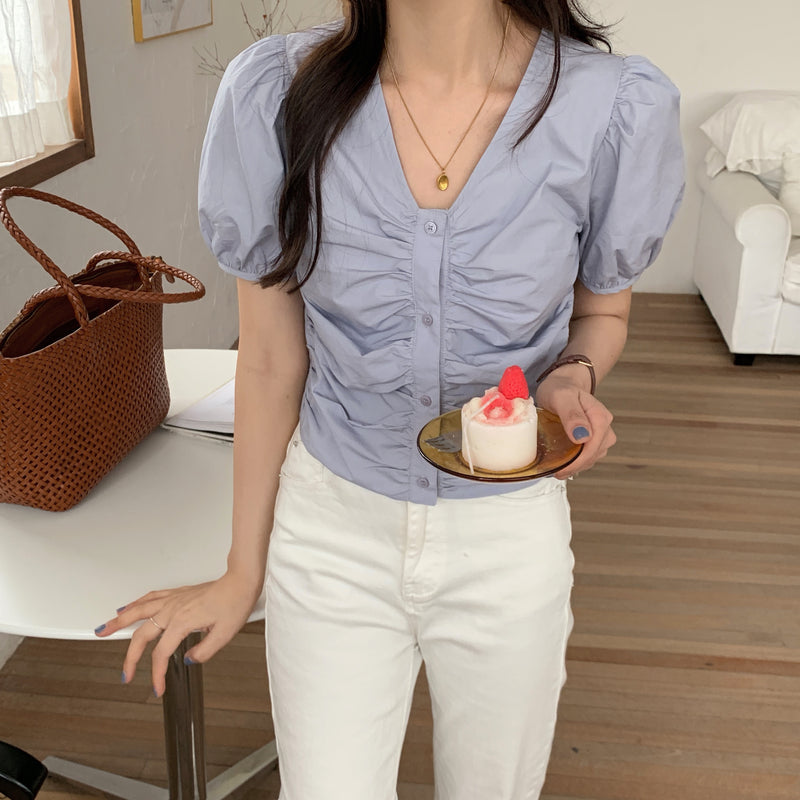 front gather blouse