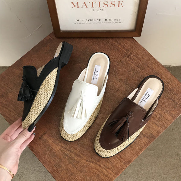 tassel design straw shoes