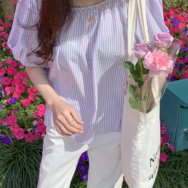 stripe balloon sleeve blouse