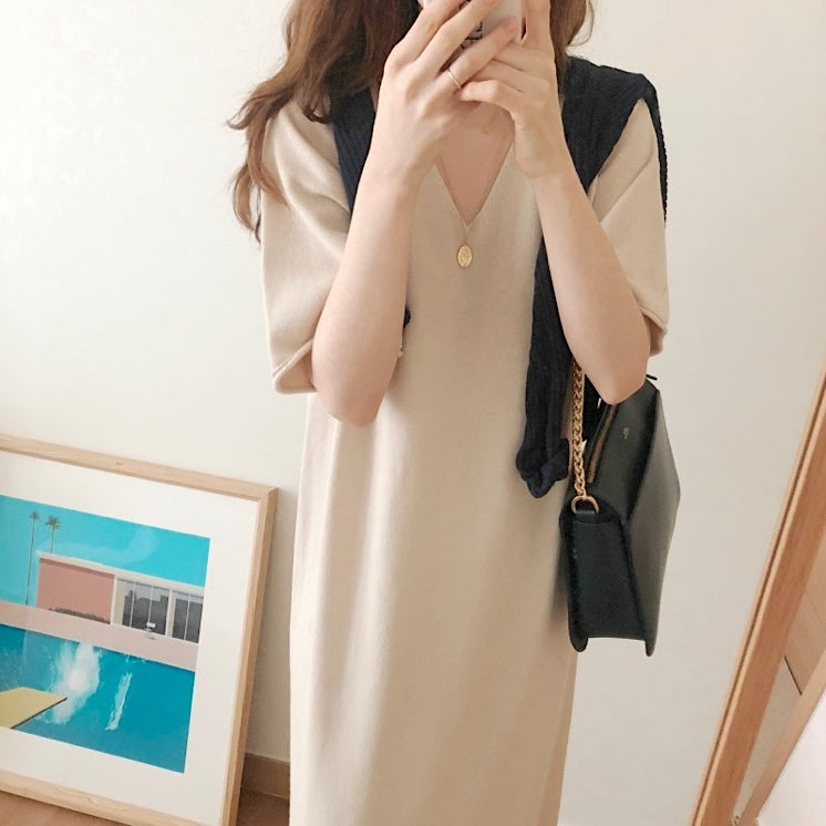 【GW限定アイテム】loose knit half sleeve onepiece