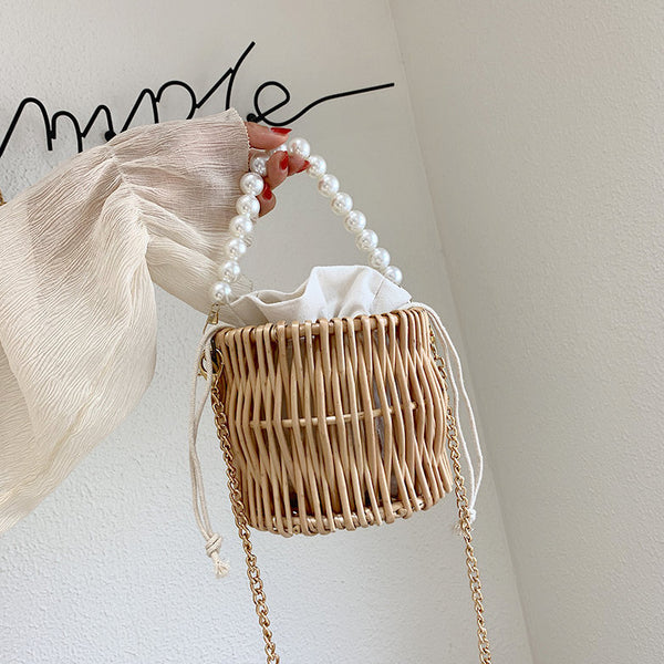 pearl handle basket bag