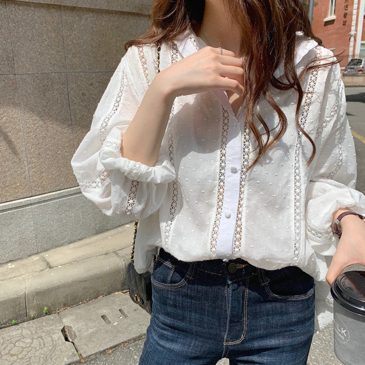 stand collar lace blouse