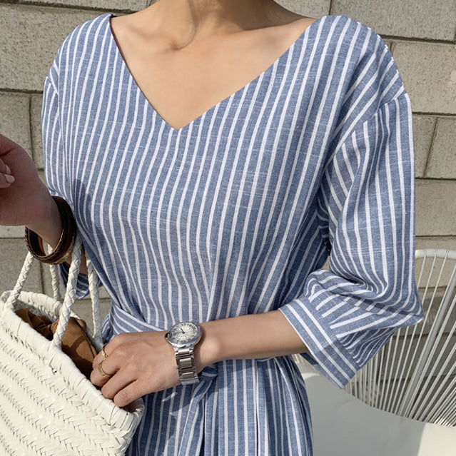 【GW限定アイテム】stripe cotton relaxy onepiece