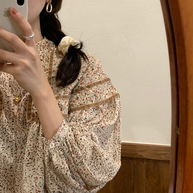 flower puff sleeve blouse
