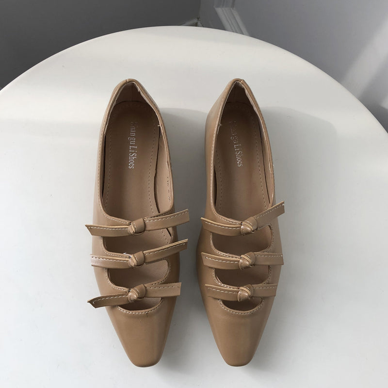 front 3ribbon flat shoes