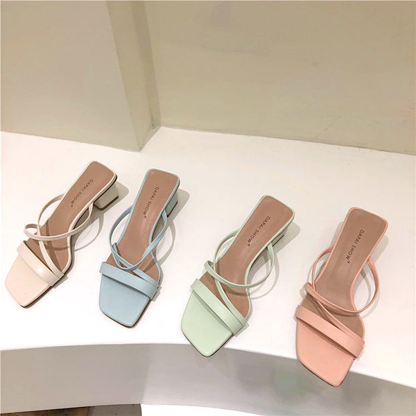 cross belt cream color sandal