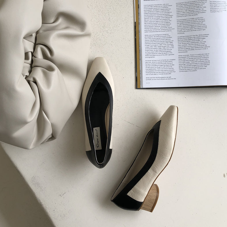 bicolor wood heel pumps