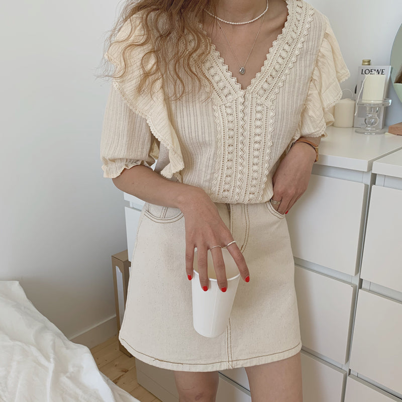 layered frill flare blouse