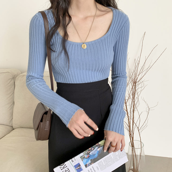 square neck rib knit tops