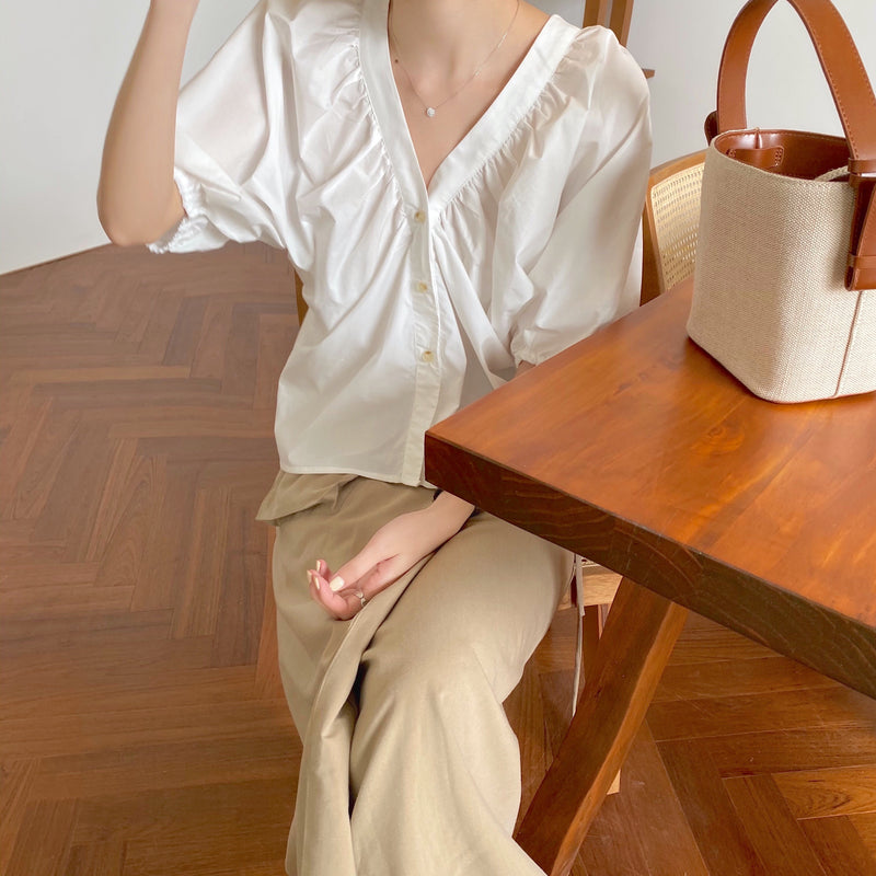 volume sleeve natural blouse