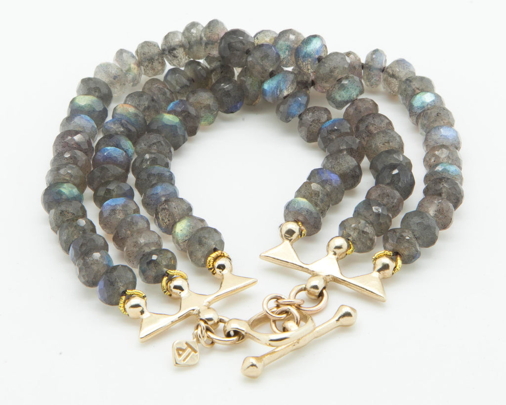 Labradorite and gold bracelet
