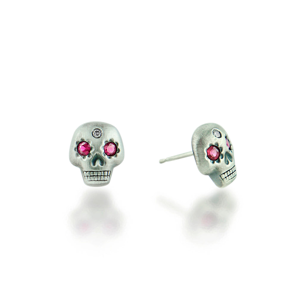 Yolo Skull Earrings Platinum/Ruby/Diamond