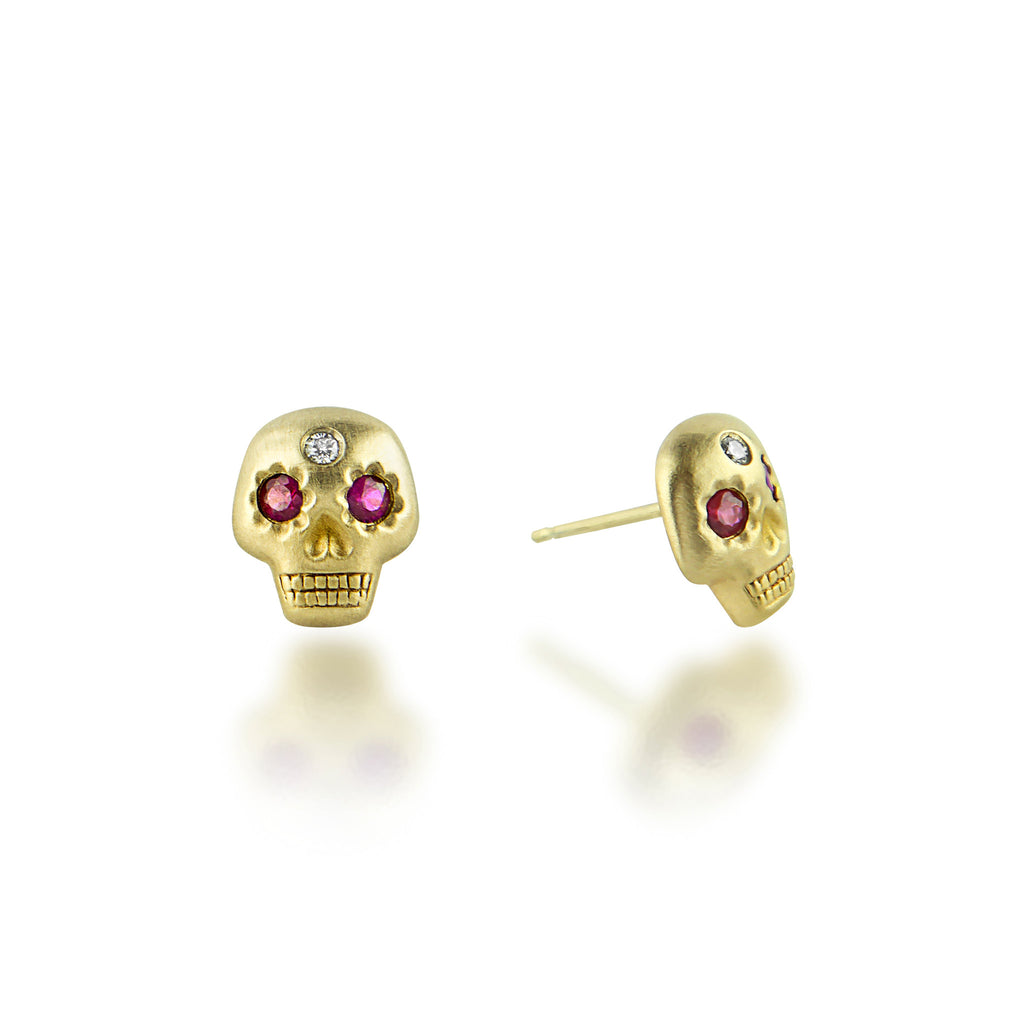 Yolo Skull Earrings Gold/Ruby/Diamond