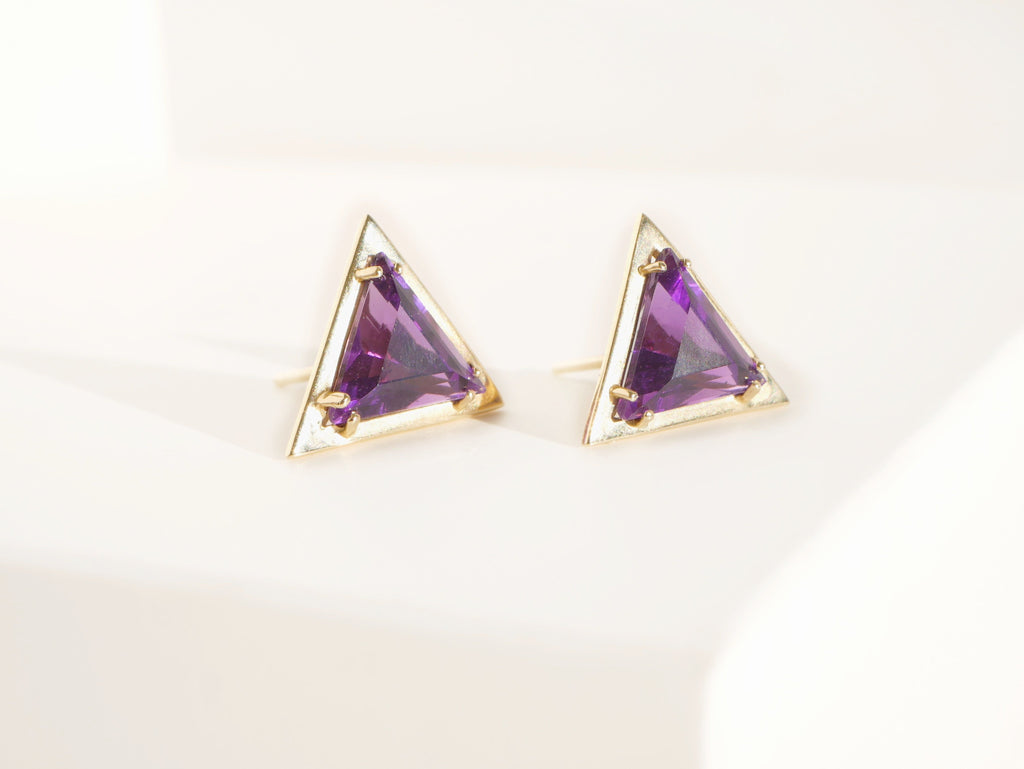Trillion Amethyst Earrings