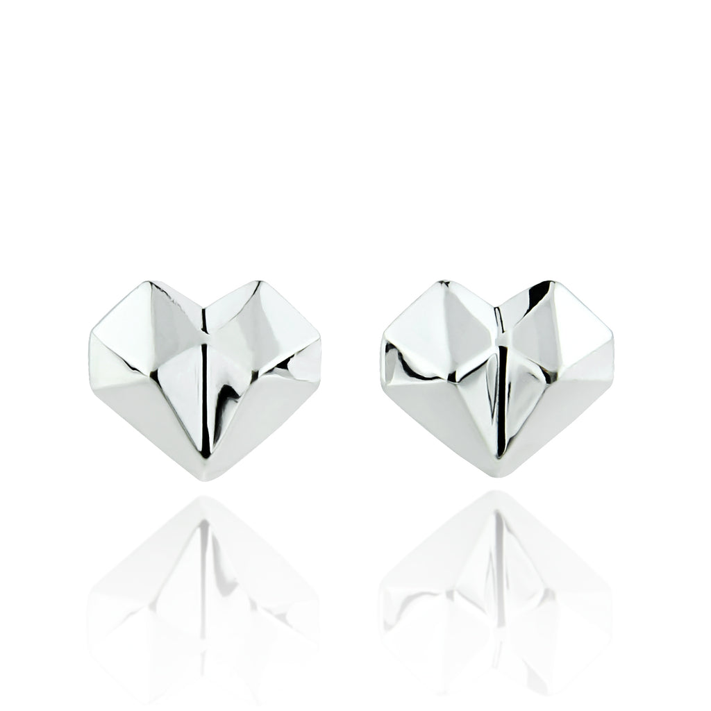Heart Stud in White Gold