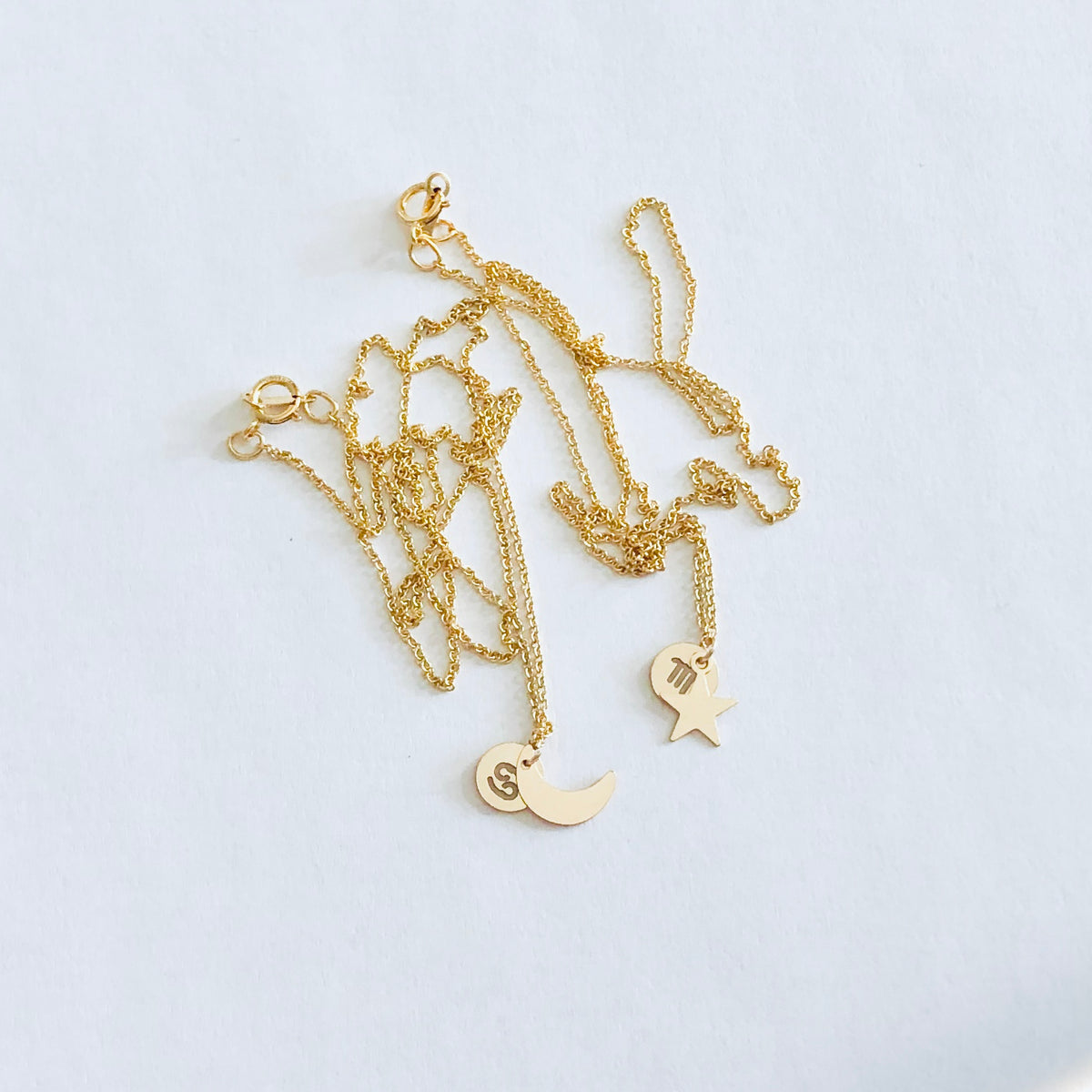 Crescent Moon + Star Zodiac Necklace Set