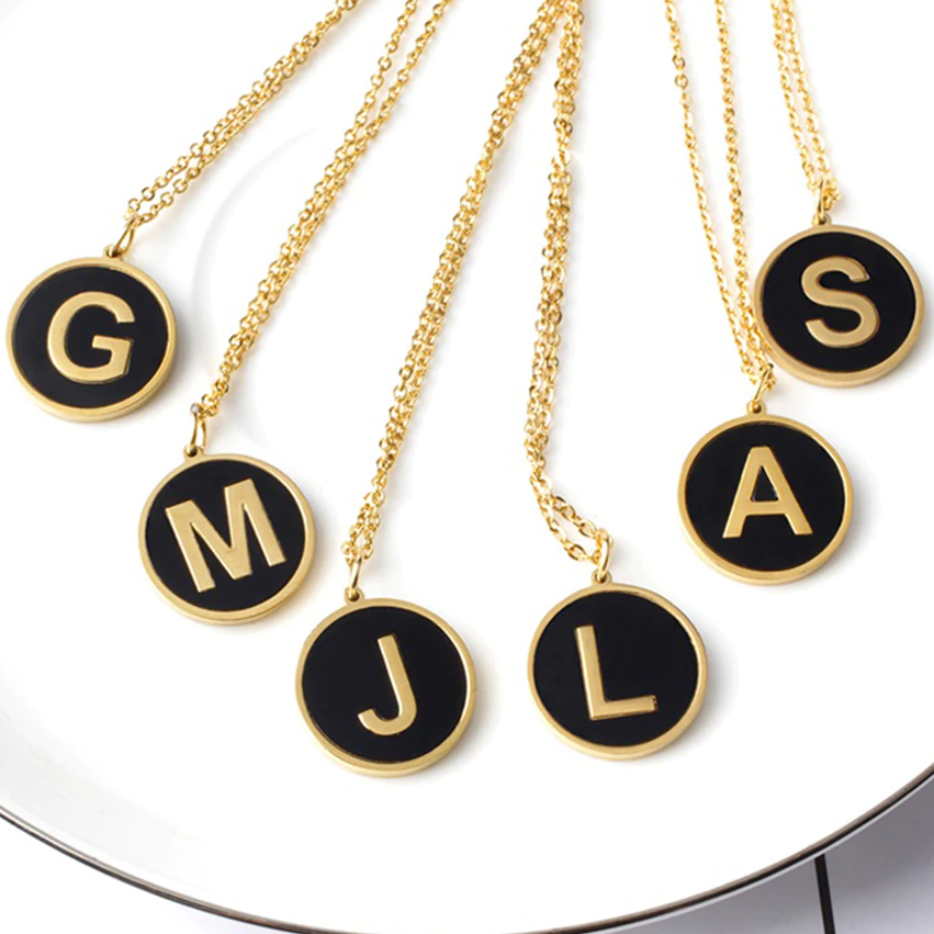 Black Letter Pendant Necklace