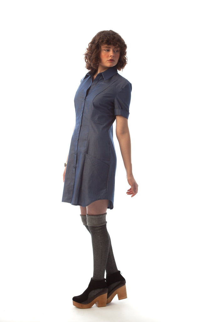 boyfriend work shirt dress fitted front