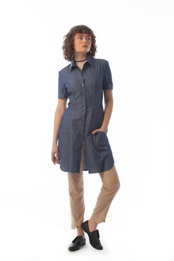 boyfriend work shirt dress fitted with pants