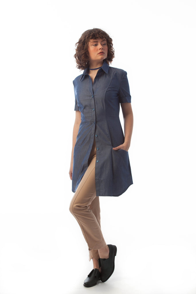 boyfriend work shirt dress fitted layering