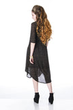 semi sheer dress Sweater Knit with elbow sleeves back