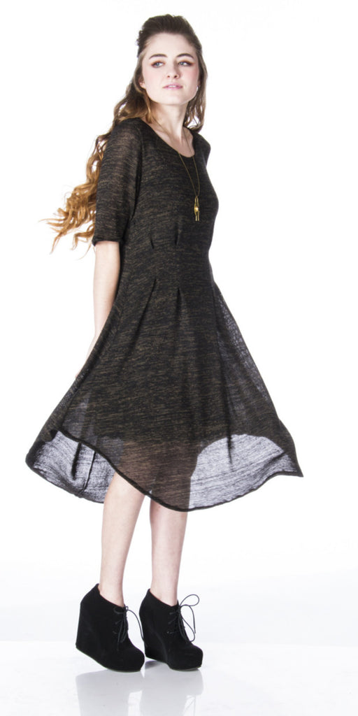 edgy street style Semi sheer sweater Knit Dress spinning