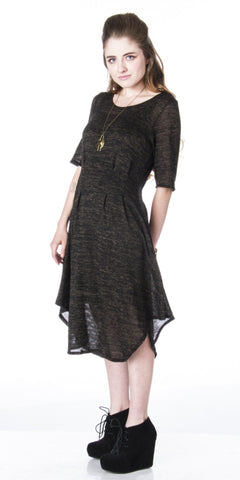 Minimalist Pleat Asymmetrical Sweater Dress w/ Short Sleeves