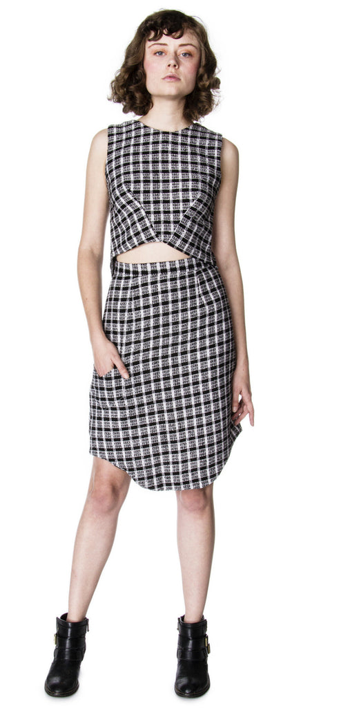 office attire work wear matching set crop top and pencil skirt with pocket front view