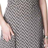 Pleated Art Deco Maxi Dress Close Up