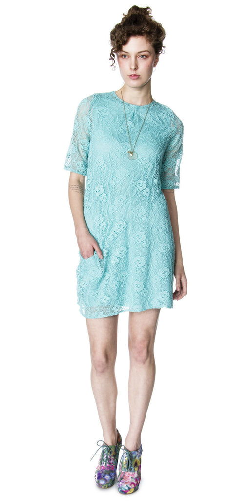 Lizz Basinger Lace shift dress aqua front
