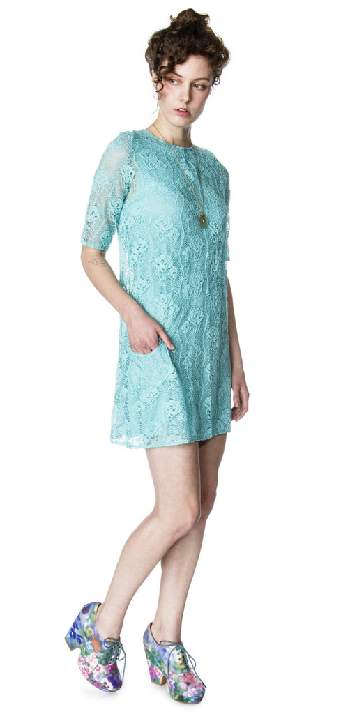 Lizz Basinger Lace shift dress aqua side