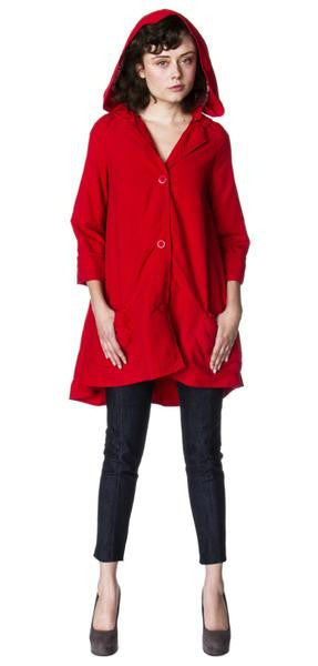 Waterproof Raincoat bell coat with detachable hood fully lined Sustainable Designs