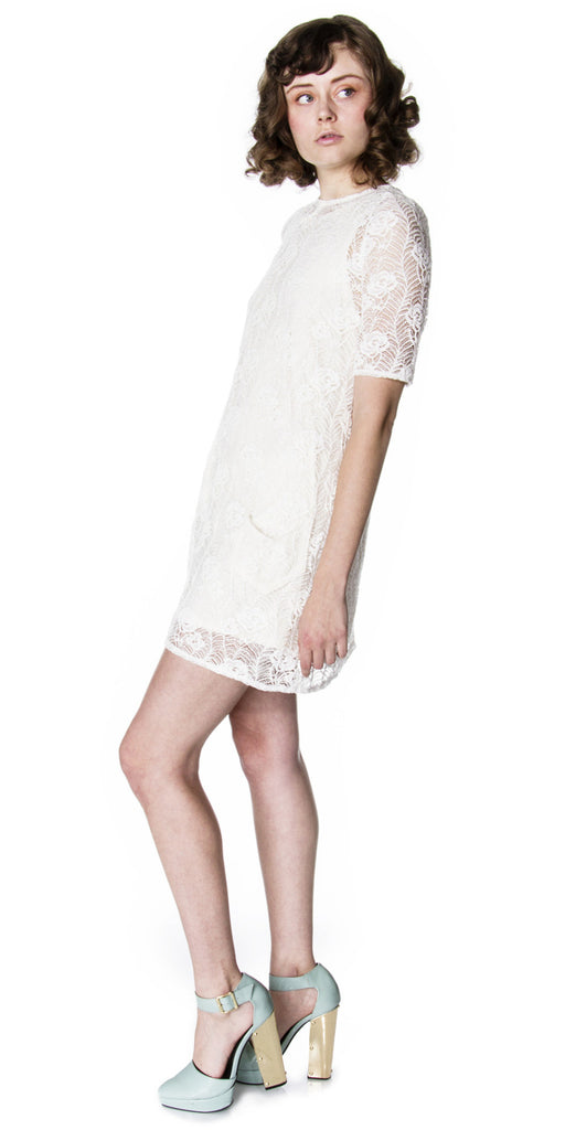 d0053c1ed9 Organic Cotton Lace Shift Mini Dress with Chevron Pocket