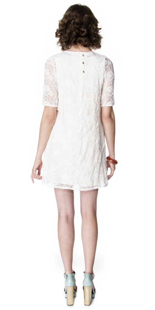 Lizz Basinger Lace shift dress off white back