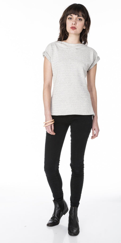 Lizz Basinger dolman top with neck line pleats and rolled cuffs front