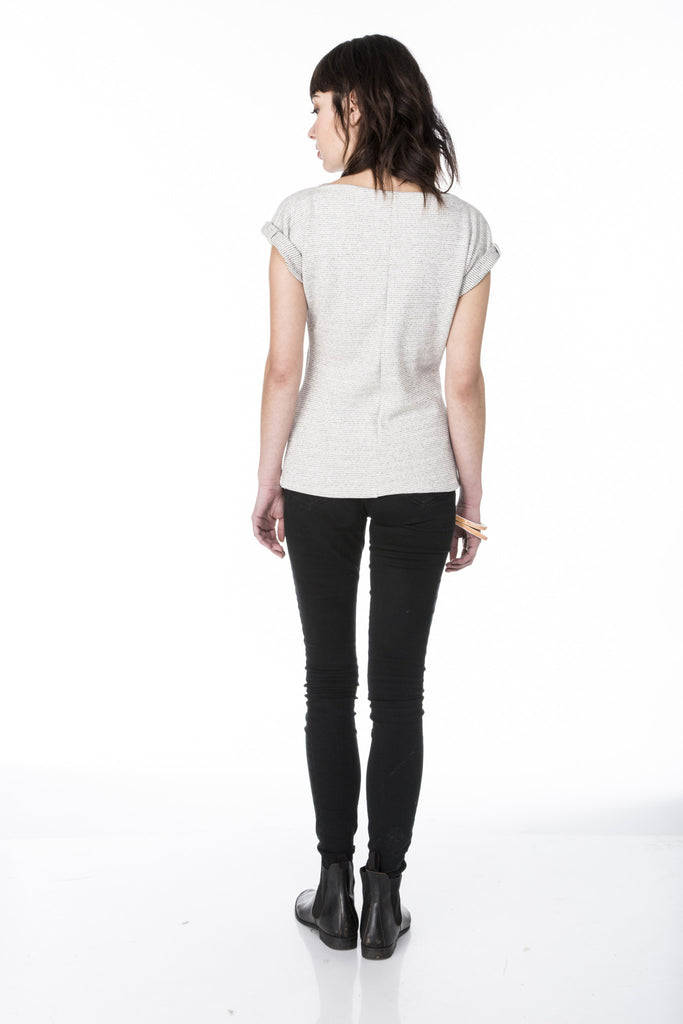 Lizz Basinger dolman top with neck line pleats and rolled cuffs back view