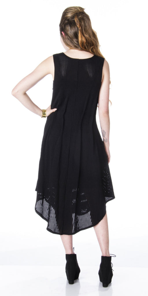 Lizz Basinger Pleated Hi-side semi sheer dress sleeveless back