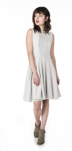 Organic Bamboo Pleated Hi-Lo Dress with Elbow Sleeves