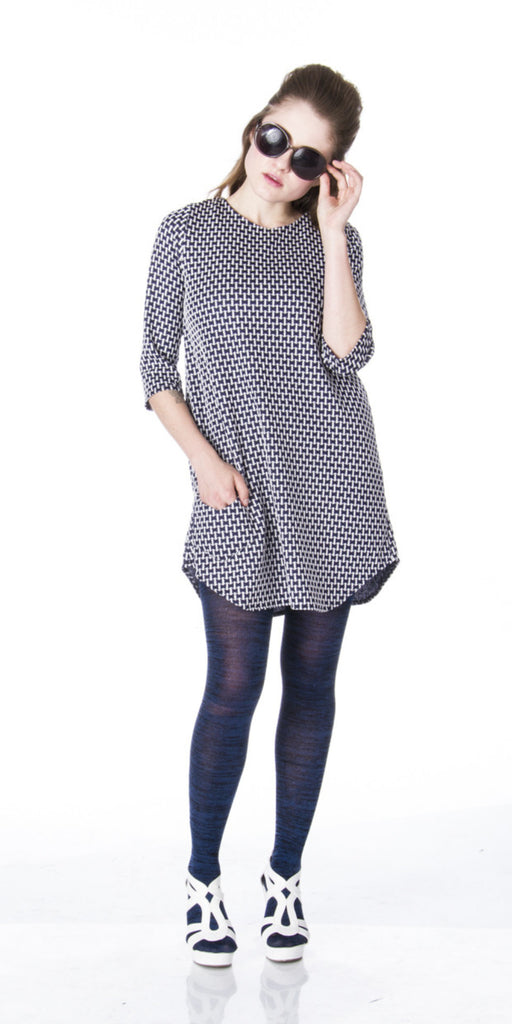 Mod work shirt dress boyfriend tunic with retro houndstooth print front