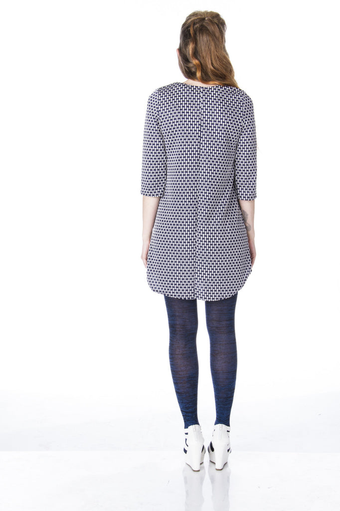 Mod work shirt dress boyfriend tunic with retro houndstooth print back view