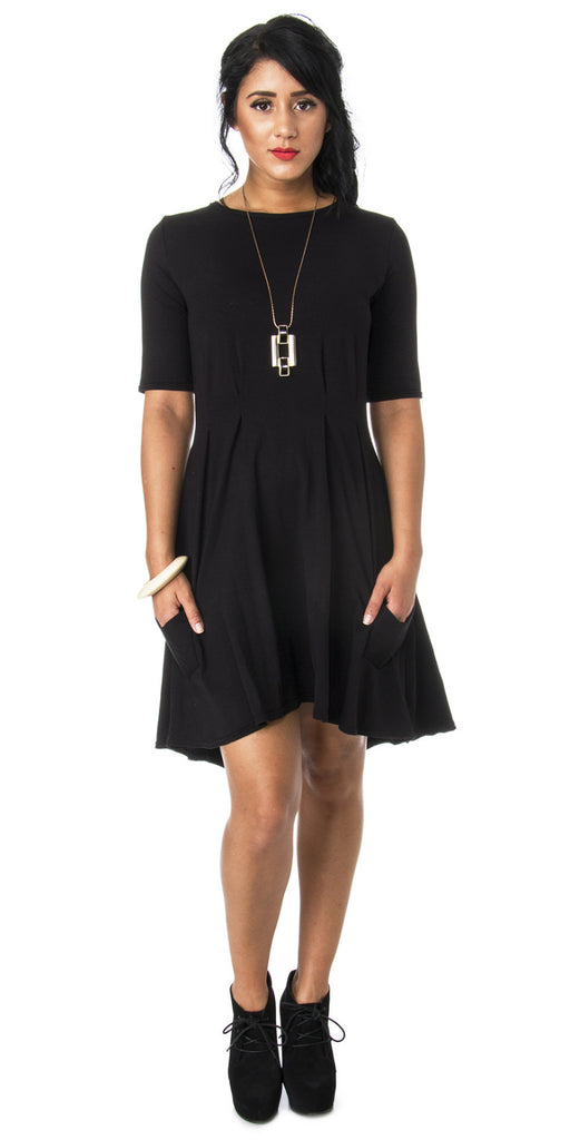 Lizz Basinger Pleated Hi-low dress front