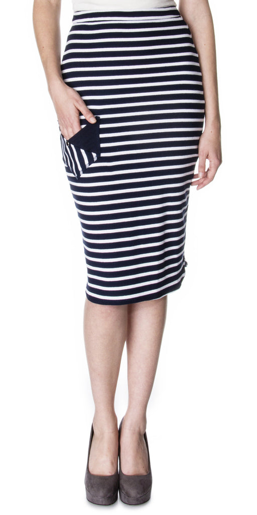 Nautical inspired Scalloped Side Pencil Skirt with pockets Front
