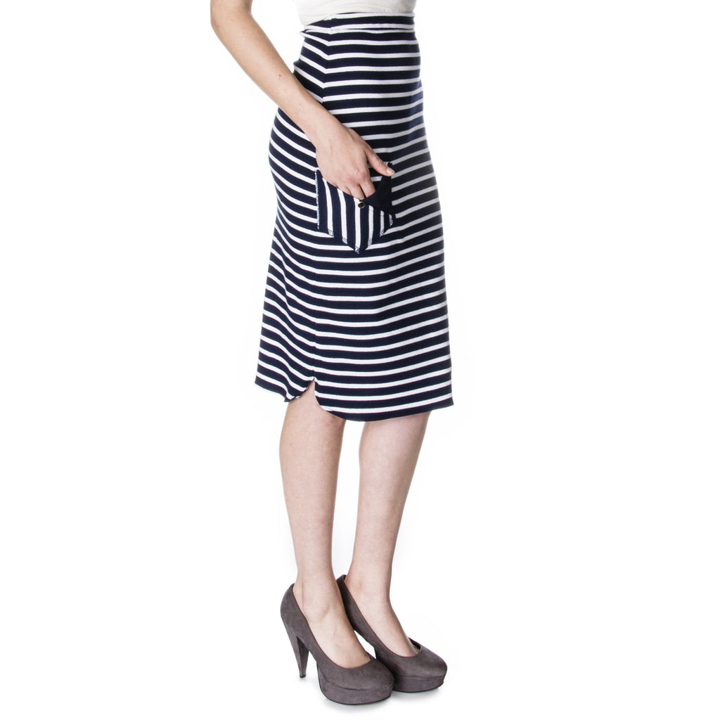 sailor Scalloped Side Pencil Skirt Side