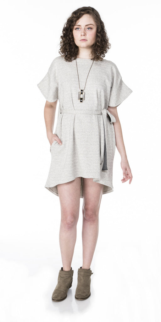 Pleated Sleeve Dolman Dress