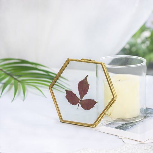 "Handmade Vintage Brass Floating Hanging Glass Hexagon Picture Photo Frame Small Side Length 2"" - NCYPgarden"