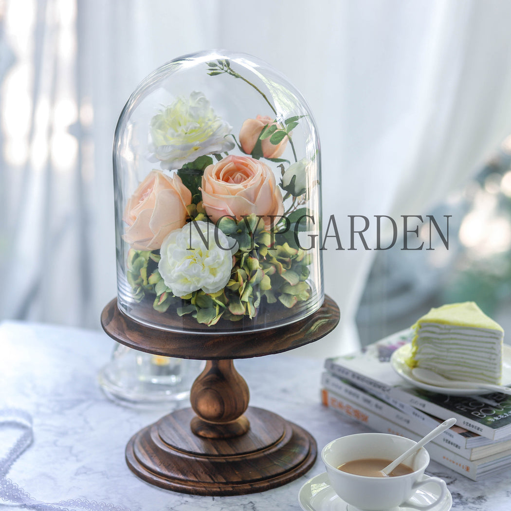 Glass Dome with Wood Base Large Pedestal Clear Cloche Bell Jar Display Stand for Rustic Wedding Gift - NCYPgarden