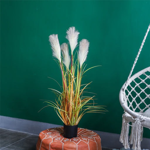 "35.4"" Tall Artificial Natural Large Faux Fake Plants Potted Plants with Black Planter Pot Reed Grasses - NCYPgarden"