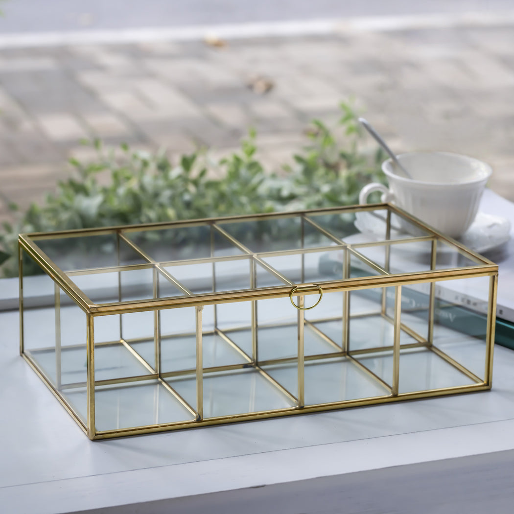 NCYP Glass Terrarium Box Tea Coffee Bag Storage Organizer Jewelry Counter 8 Grids Compartments - NCYPgarden