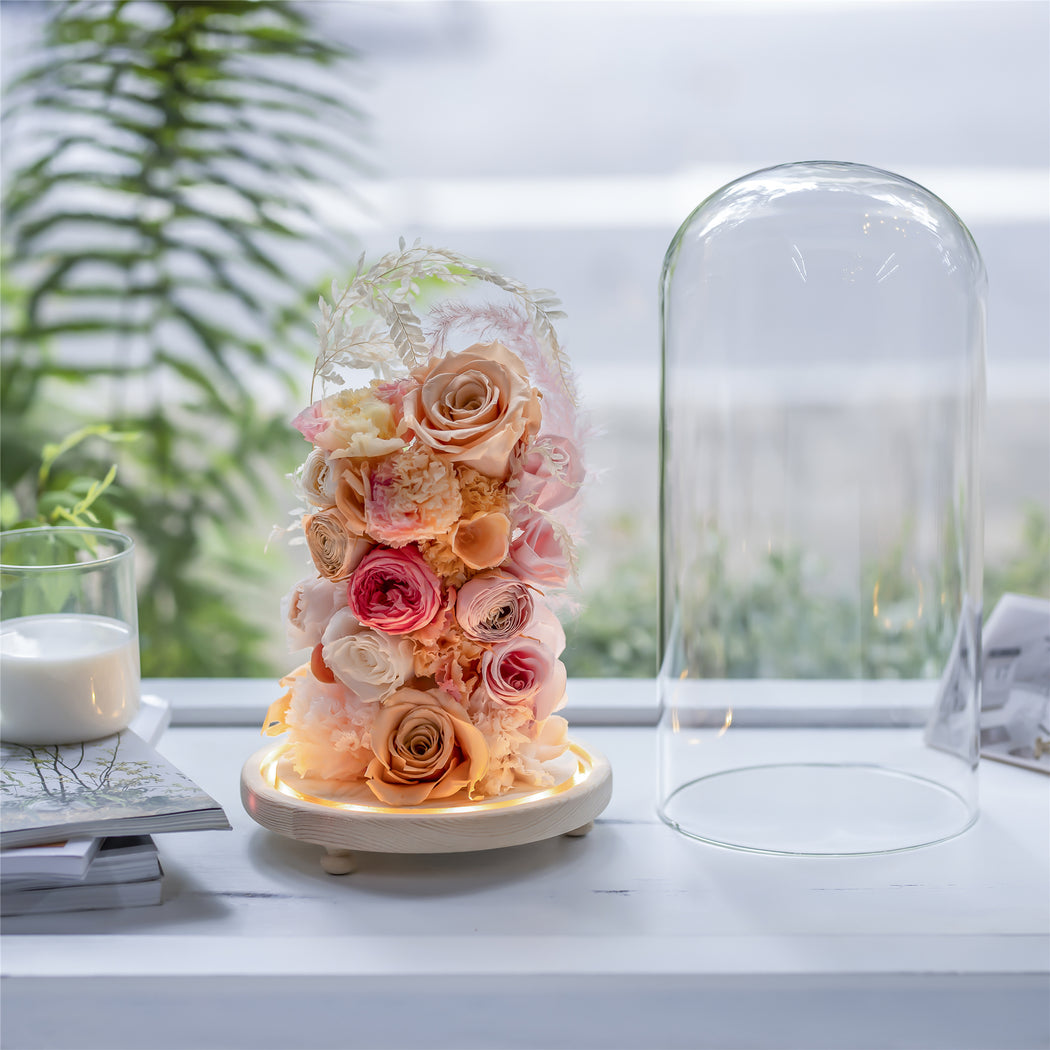 Handmade Glass Dome with LED Light Wood Base Cloche Bell Round for Rose Model Figurine Flowers - NCYPgarden