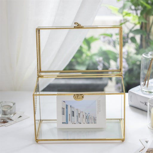 Handmade Vintage Geometric Glass Card Box Organizer Terrarium with Latch for Wedding Reception - NCYPgarden